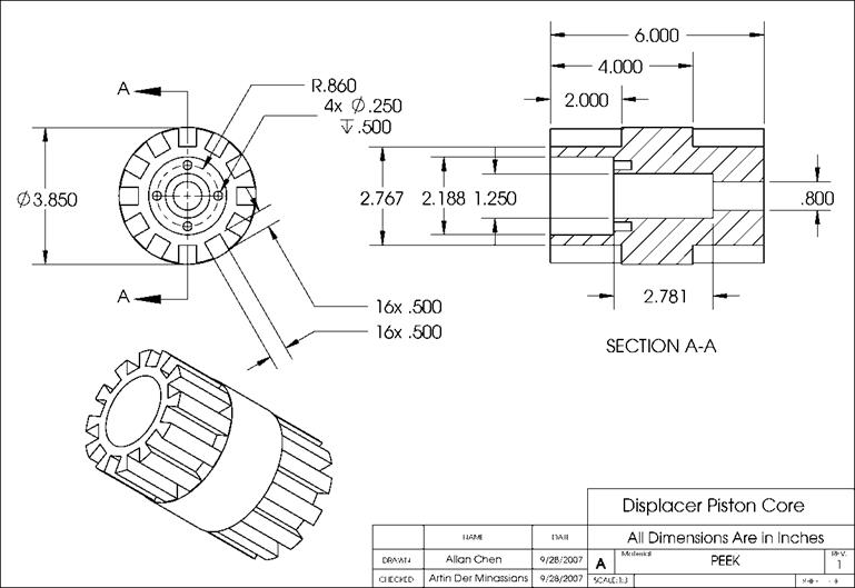 Technical Drawings for the Single-Phase Stirling Engine Prototype